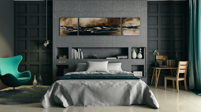 wohnideen schlafzimmer offene wandregale grüne elemente hängelampen