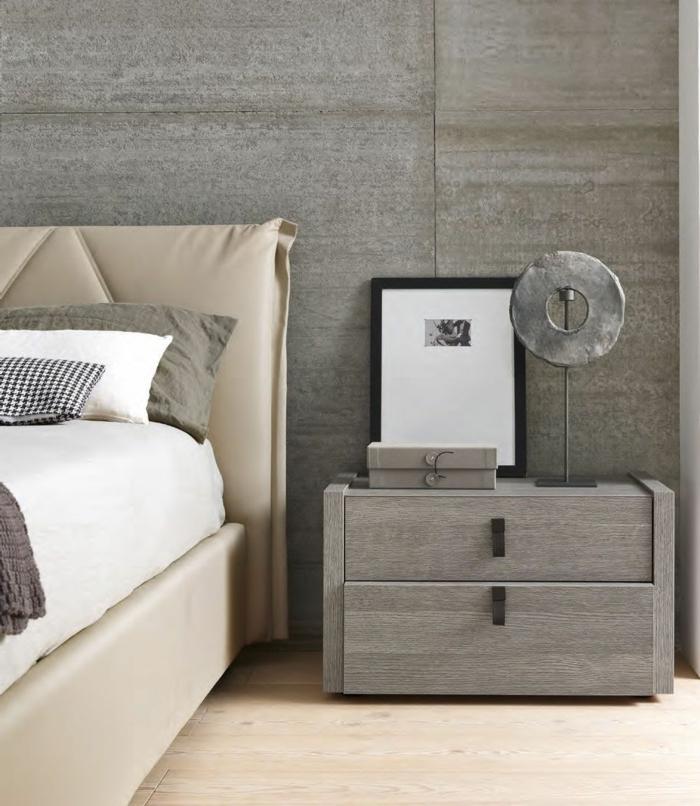 wohnideen schlafzimmer schöne wandgestaltung graunuancen beiges bett
