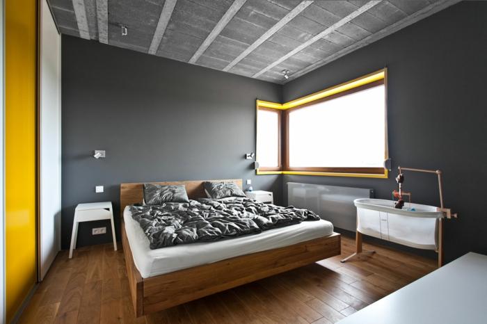 wohnideen schlafzimmer wände grau gelbe akzente