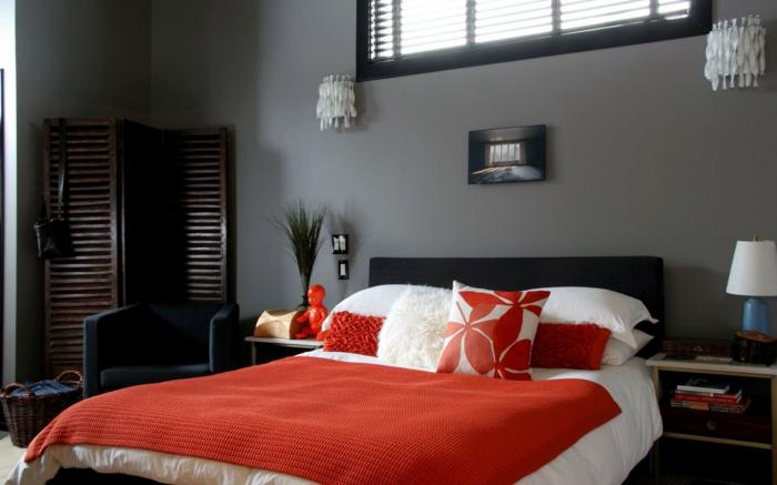 wandleuchten innen wohnideen schlafzimmer wände grau orange akzente wandleuchten