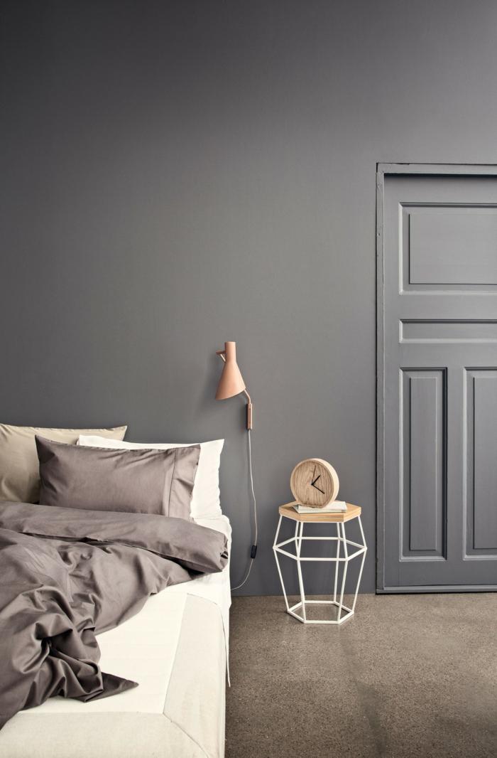 wohnideen schlafzimmer wände grau schlichtes schlafzimmer gestalten