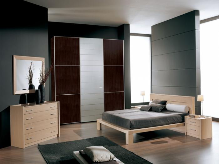 wohnideen schlafzimmer wandgestaltung grau grauer teppichläufer helle möbel