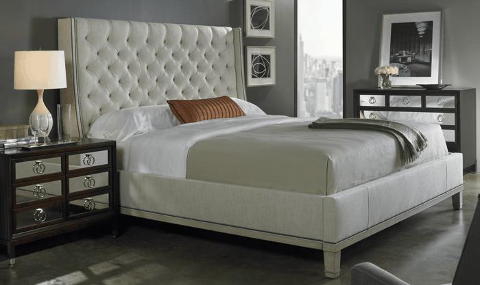 wohnideen schlafzimmer wandgestaltung ideen grau beiges bett