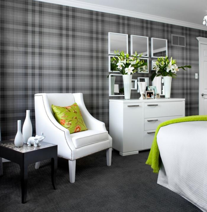 wohnideen schlafzimmer weiße möbel grelle akzente graue tapete