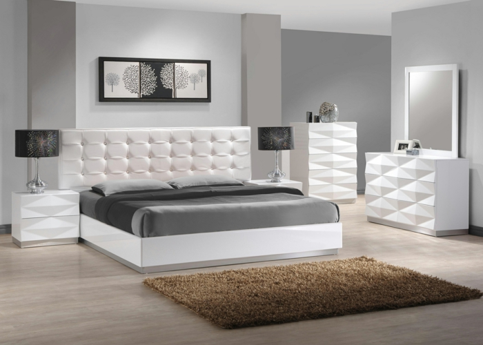 wohnideen schlafzimmer weiße möbel hellgraue wände beiger teppich