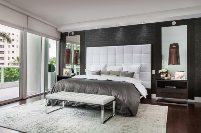 wohnideen schlafzimmer tapete graunuancen heller teppich hängeleuchten