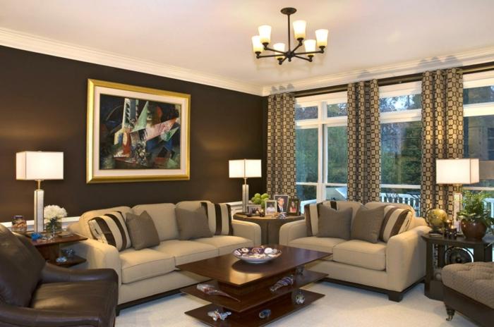 wohnideen wohnzimmer akzentwand braun beige möbel brauner ledersessel