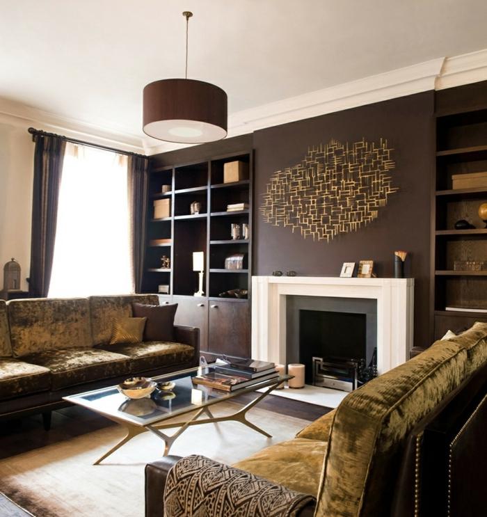 wohnideen wohnzimmer akzentwand braun schöner teppich gardinen