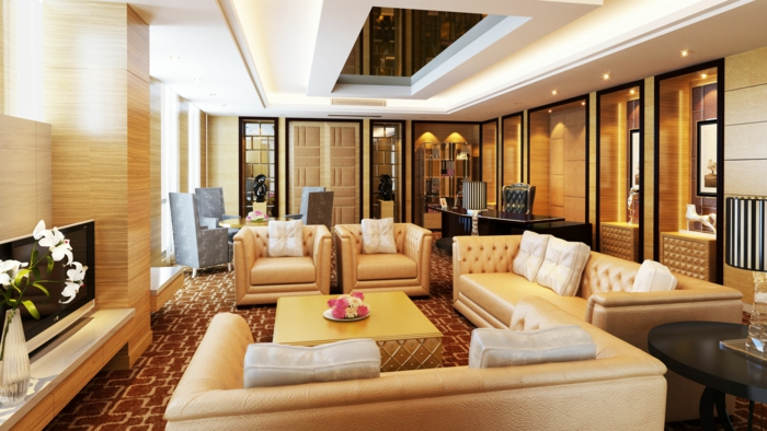 einrichtungsideen wohnideen wohnzimmer beige möbel teppichboden blumendeko
