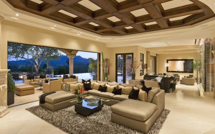 wohnideen wohnzimmer offener wohnplan schöne aussichten beige