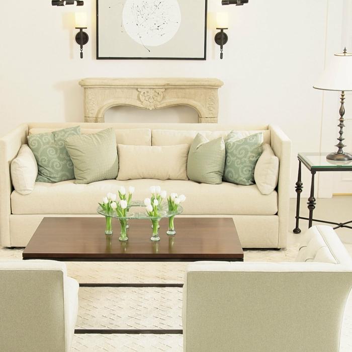 einrichtungsideen wohnideen wohnzimmer beige tischdeko tulpen hell geräumig