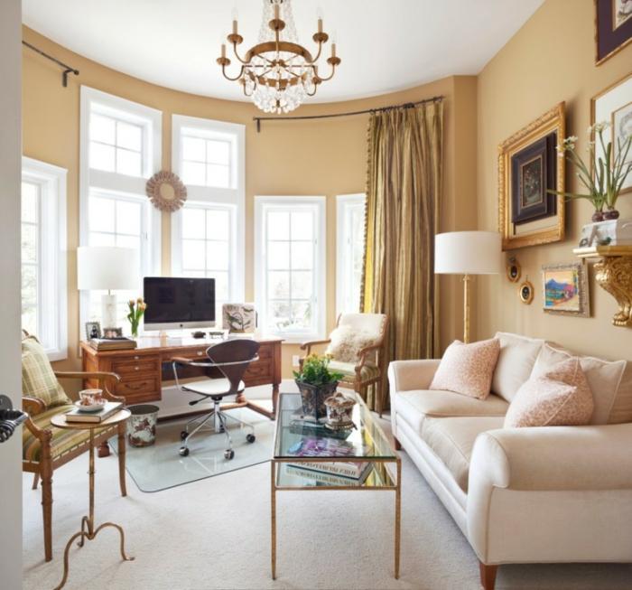 wohnideen wohnzimmer wände beige heller teppich schickes sofa