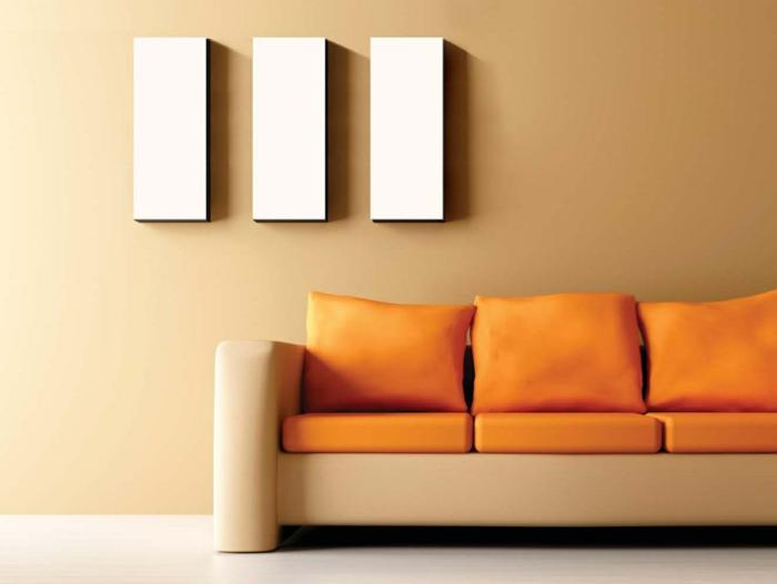 wohnideen wohnzimmer wände beige orange dekokissen