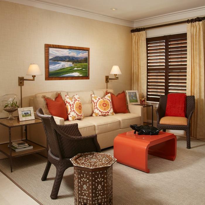 Wohnideen Wohnzimmer Wände Beige Oranger Couchtisch Sisalteppich