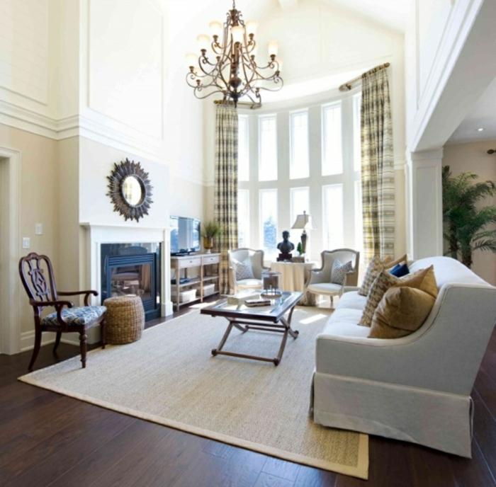 wohnideen wohnzimmer wände beige sisalteppich gardinenmuster