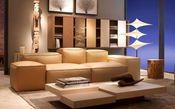 wohnideen wohnzimmer wohnzimmermöbel beige minimalistischer couchtisch