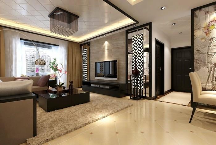 wohnideen wohnzimmer beiger teppich gardinen orchideen