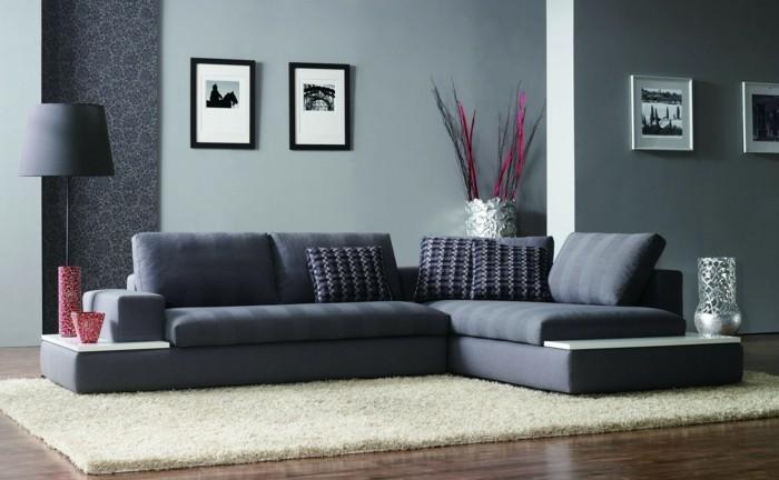 wohnideen wohnzimmer beiger teppich graue möbel helle wandfarbe