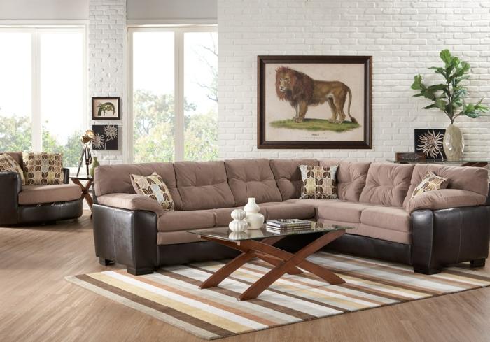 wohnideen wohnzimmer beiges ecksofa streifenteppich offener wohnplan