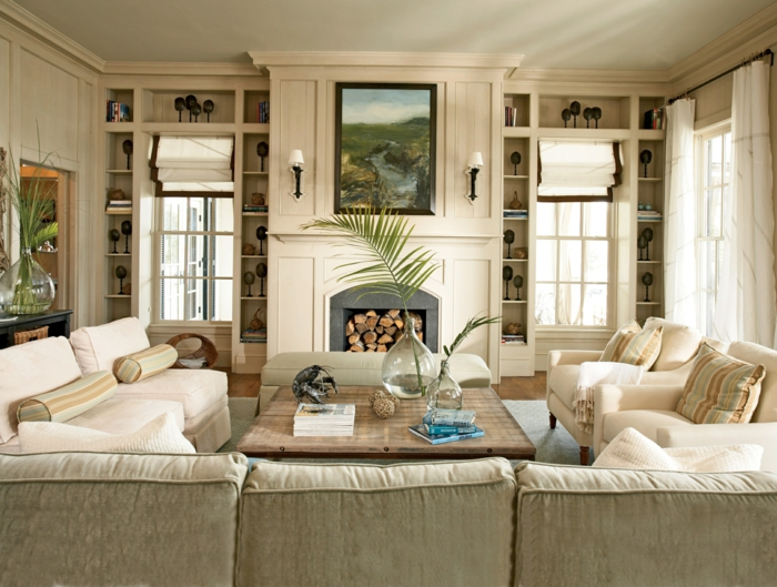 Wohnideen Wohnzimmer Beiges Sofa Rustikaler Couchtisch Pflanzen