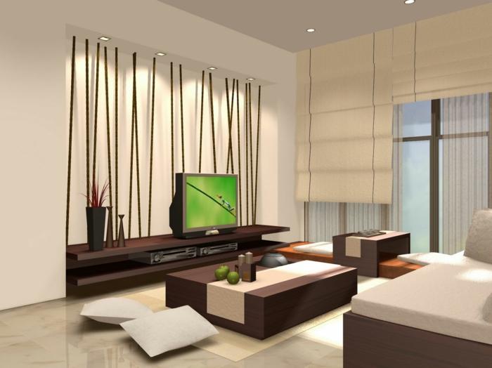wohnideen wohnzimmer bodenfliesen beige wände fernseher