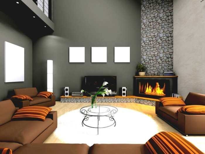 wohnideen wohnzimmer braune möbel weißer teppich graue wände