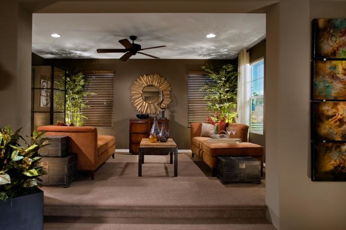 wohnideen wohnzimmer braune wände teppichboden pflanzen weiße zimmerdecke