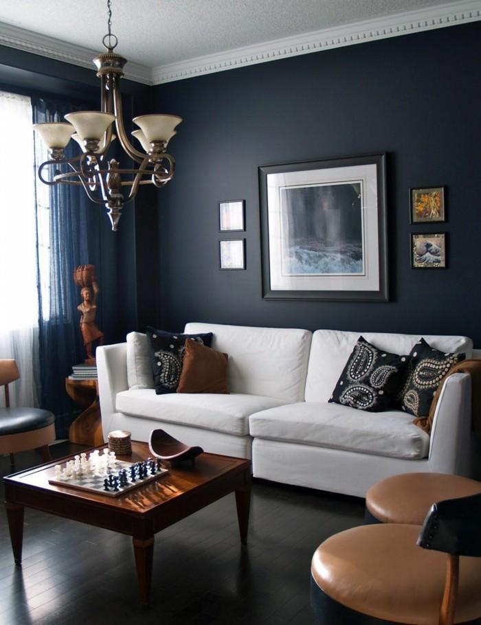 wohnideen wohnzimmer dunkelgraue wände und weißes wohnzimmersofa