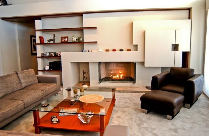 wohnideen wohnzimmer eleganter teppich kamin offene regale