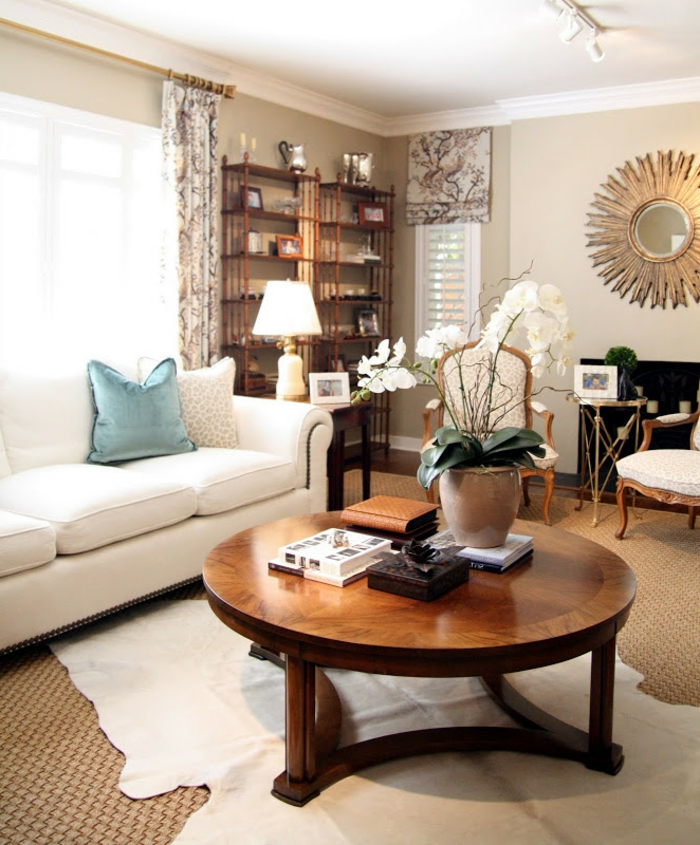 wohnideen wohnzimmer fellteppich beige wände