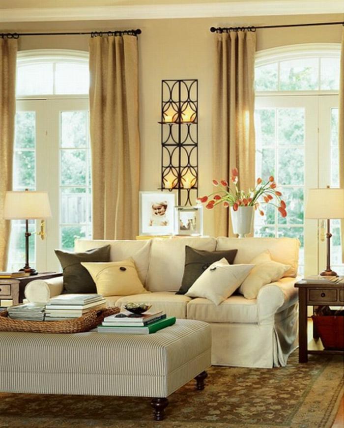 wohnideen wohnzimmer gardeinen teppich blumendeko