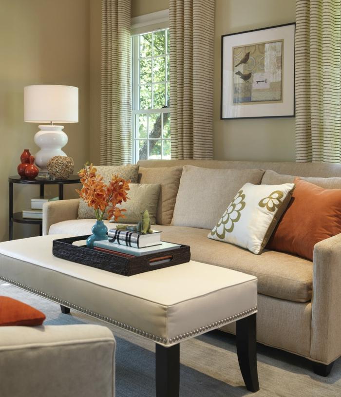 einrichtungsideen wohnideen wohnzimmer gardinen streifen beige wände schicke möbel
