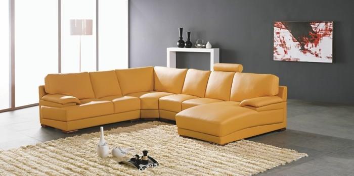Wohnideen Wohnzimmer Gelbe Möbel Beiger Teppich