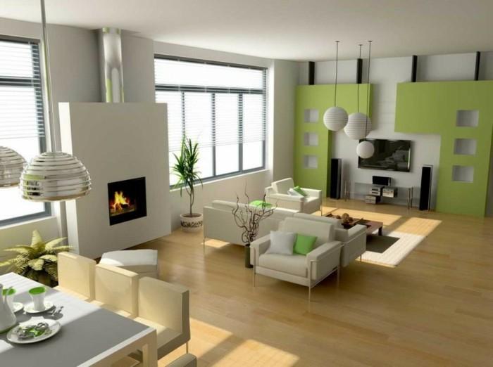 wohnideen wohnzimmer grüne dekokissen weiße möbel offener wohnplan
