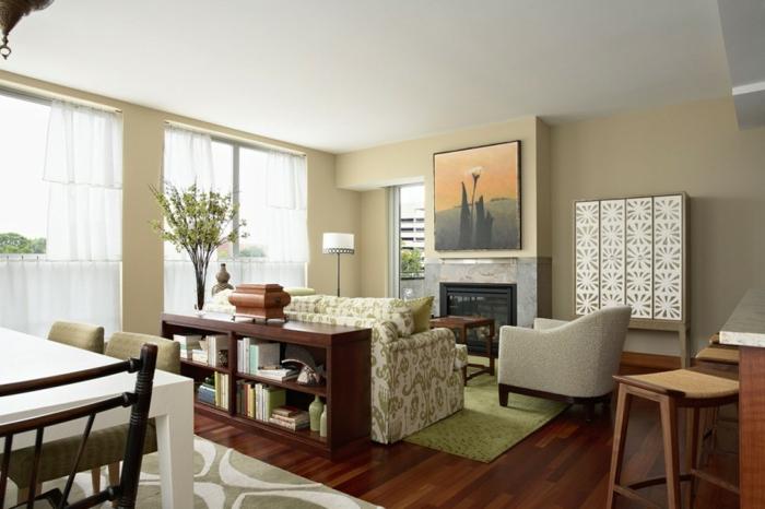 wohnideen wohnzimmer grüne elemente florales muster beige wände