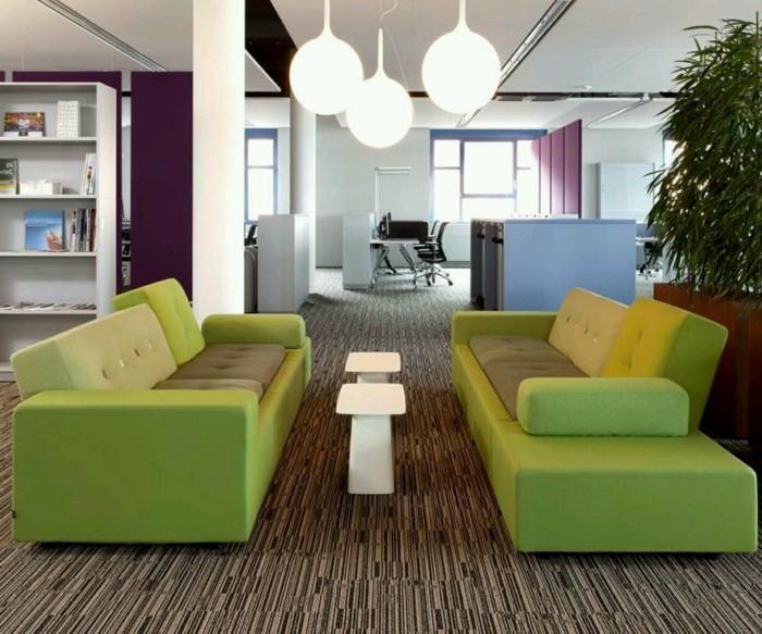wohnideen wohnzimmer grüne sofas moderner bodenbelag