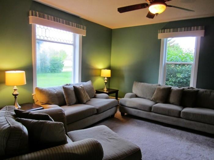 wohnideen wohnzimmer grüne wände eleganter teppichboden