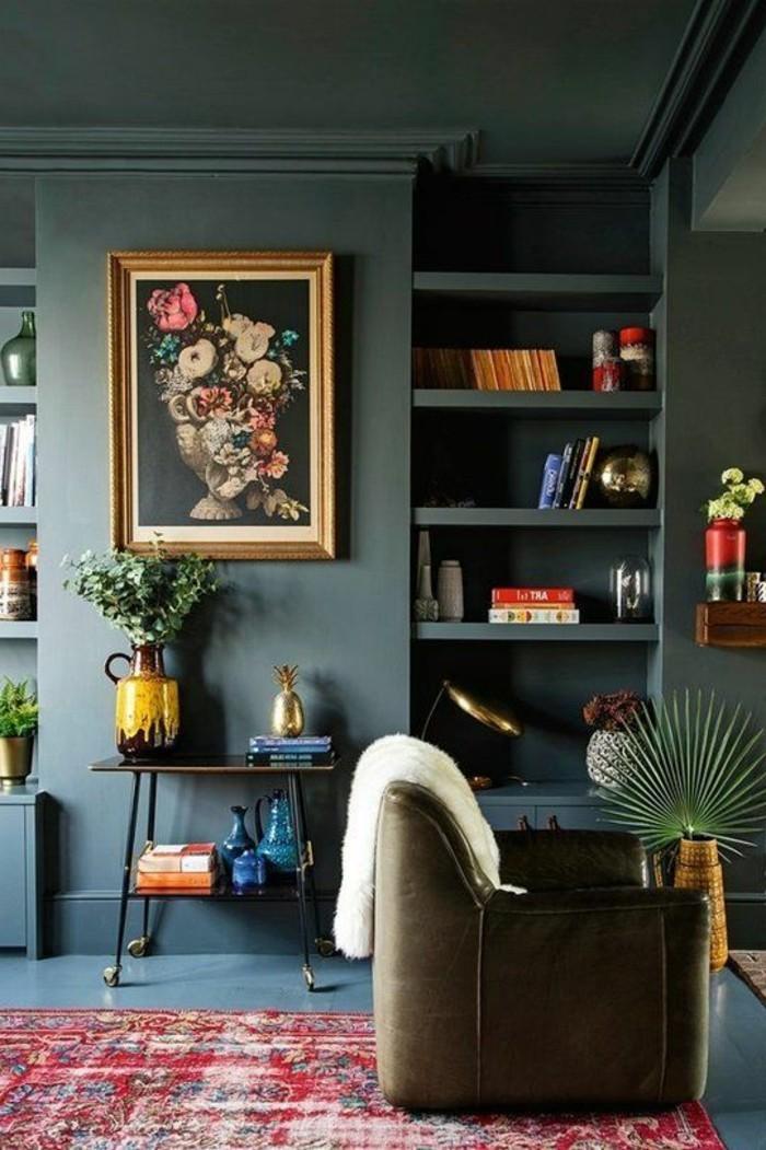 wohnideen wohnzimmer graue wände farbiger teppich