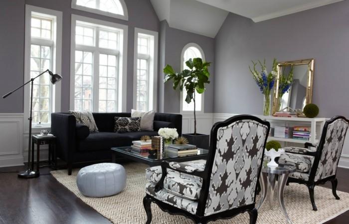 wohnideen wohnzimmer graue wände und dunkelbrauner bodenbelag