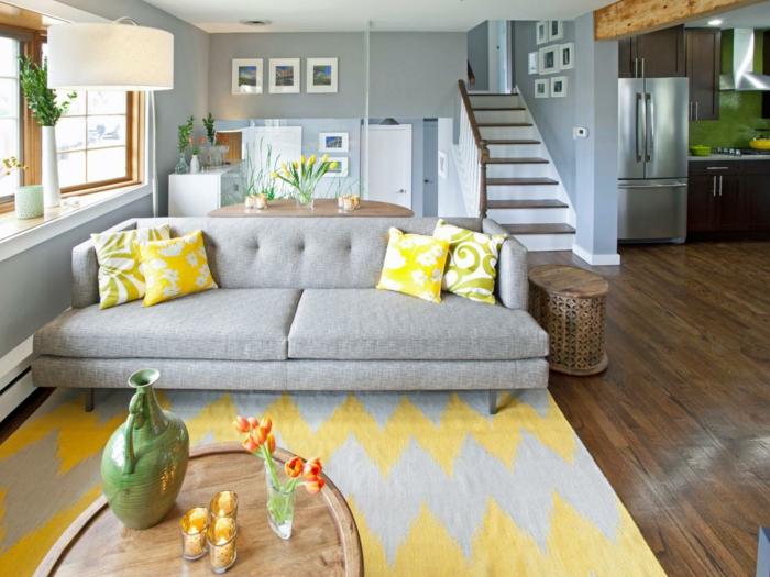 Wohnideen Wohnzimmer Graue Wandfarbe Und Gelbe Akzente Wohnzimmer Grau U2013 In  55 Beispielen Zeigen Wir, ...