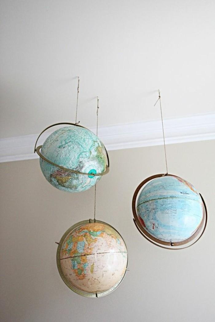 wohnideen wohnzimmer hängende globen vintage