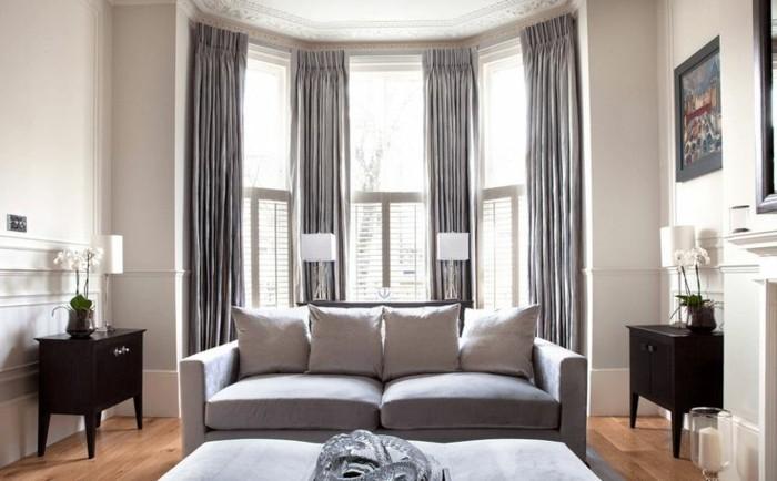 wohnideen wohnzimmer hellgraues sofa gardinen beistelltische
