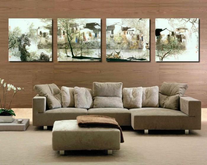 wohnideen wohnzimmer holzoptik wände schicke möbel