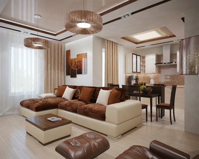 Einrichtungsideen wohnzimmer braun  Wohnzimmer Braun - 60 Möglichkeiten, wie Sie ein braunes Wohnzimmer ...
