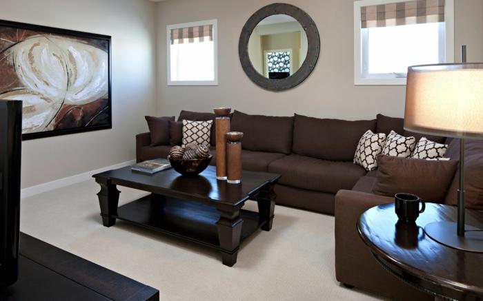 wohnideen wohnzimmer möbel braun heller teppich helle wände