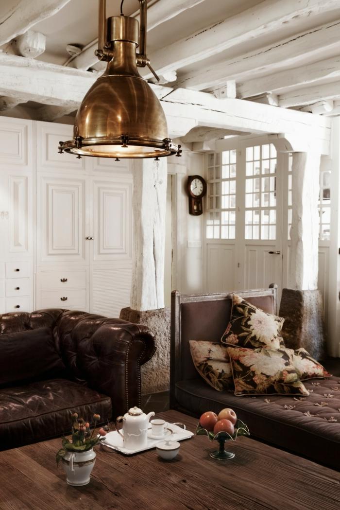 wohnideen wohnzimmer möbel braun rustikaler holztisch