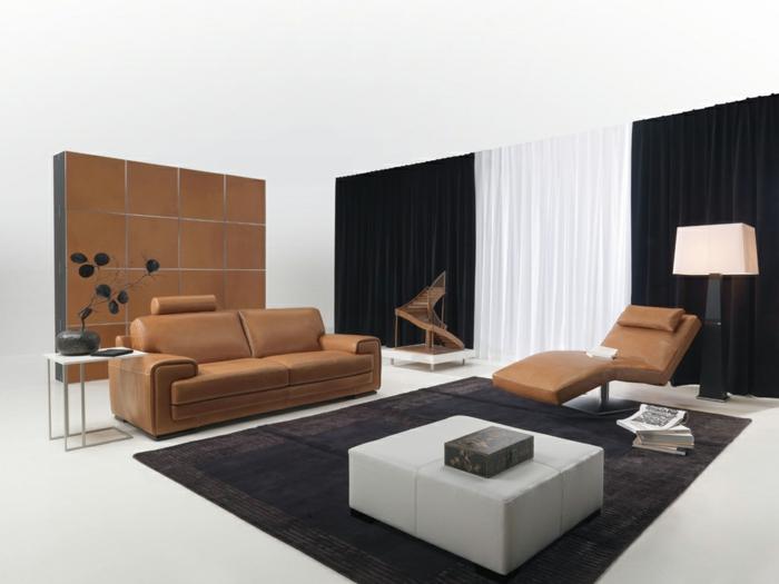 wohnideen wohnzimmer möbel braun schwarze gardinen dunkler teppich
