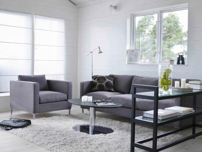 wohnideen wohnzimmer möbel grau weißer teppich