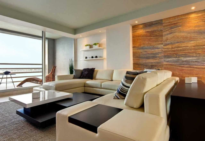 wohnideen wohnzimmer moderne wandgestaltung schicke ledermöbel