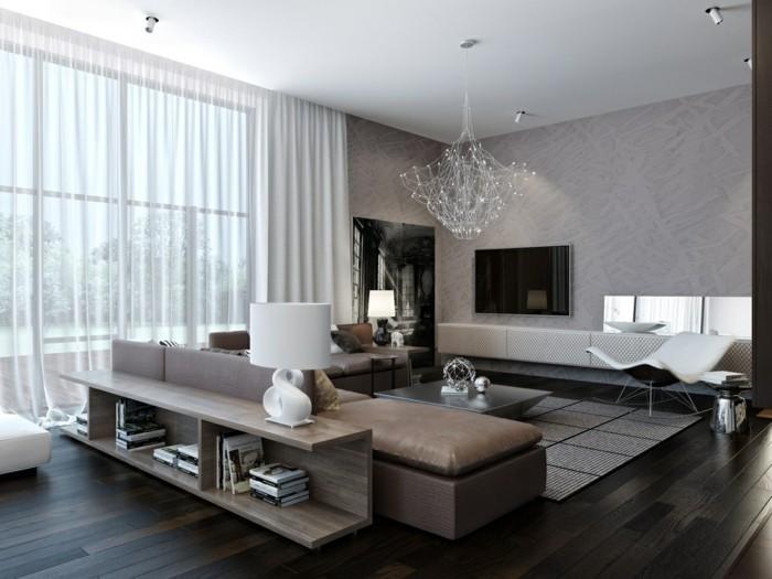 wohnideen wohnzimmer neutrale farben eleganter teppich luftige gardinen